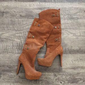 Tan suede platform high heel knee boots